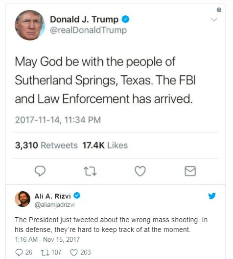 a donald trump tweet about mass shooting and a response