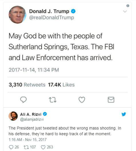 a donald trump tweet about mass shooting and a response