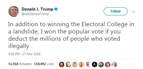 donald trump tweet voter fraud