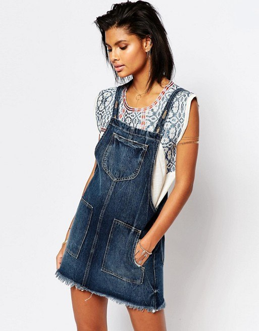 Tularosa Sophia Denim Overall Dress