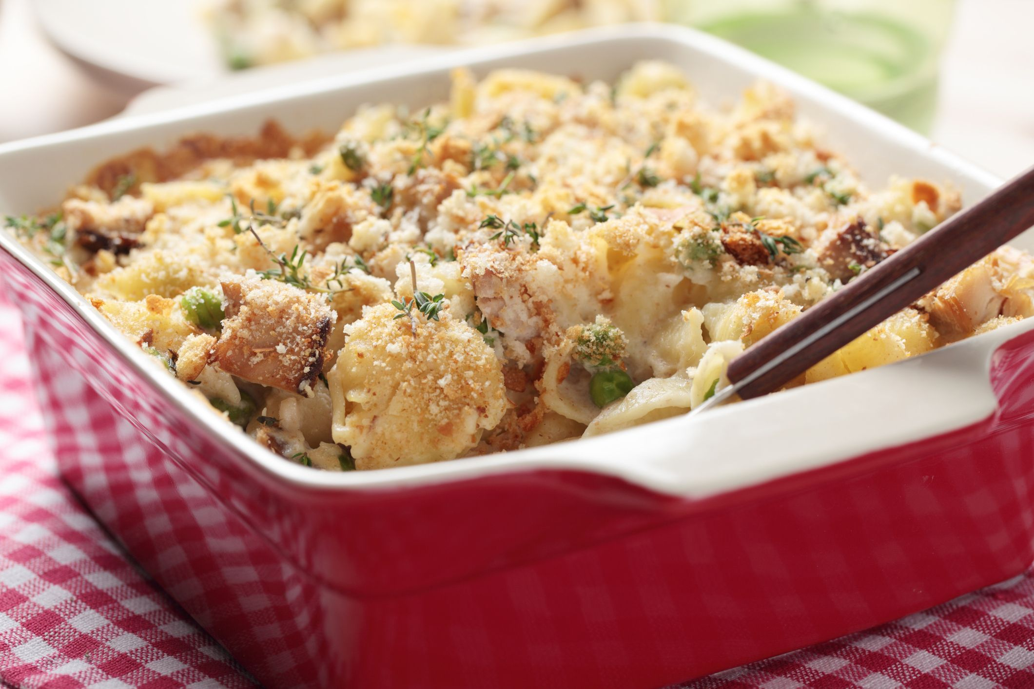 Tuna casserole with pasta and crumbs