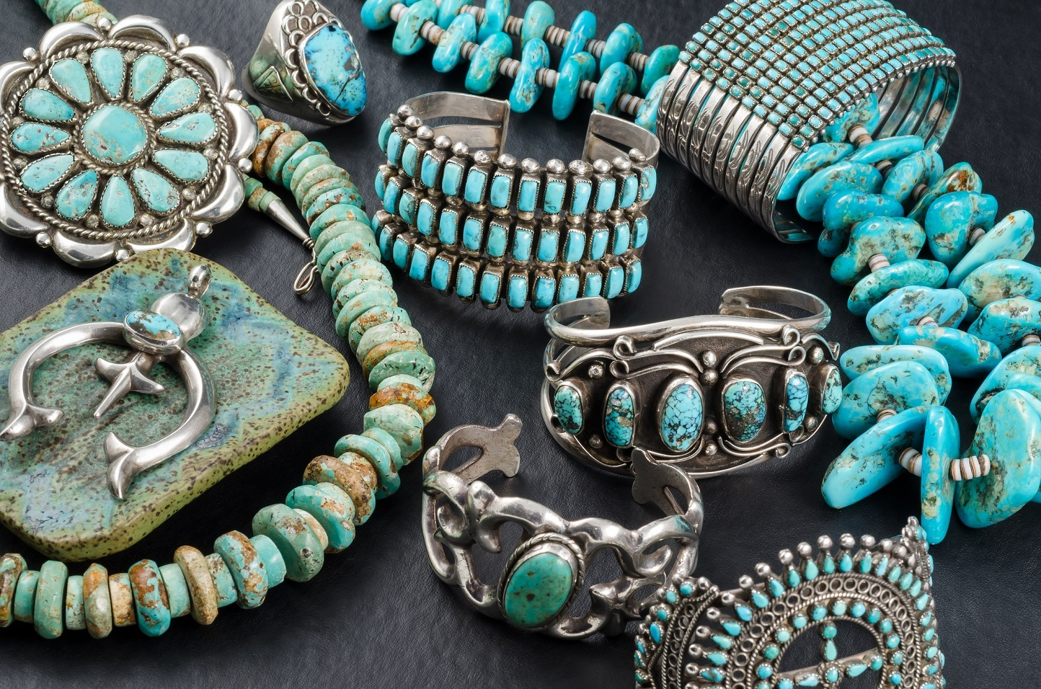 Collection of Native American Turquoise and Silver Jewelry.