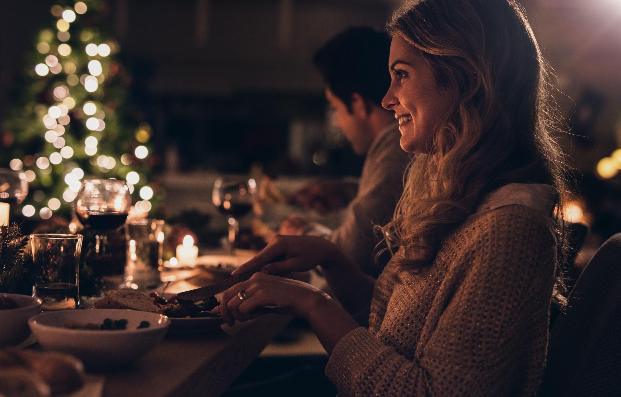 Woman at Christmas dinner