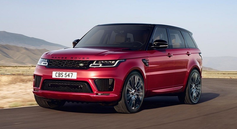 Shot of red 2018 Range Rover Sport in desert setting
