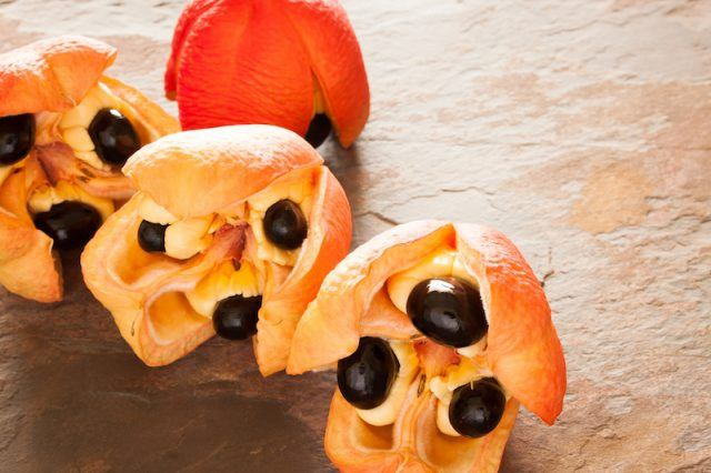 Ackee fruit on a wooden floor.