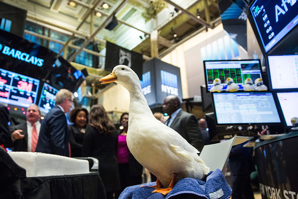Aflac duck at stock exchange