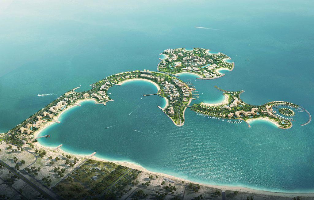 Aerial view of the curving Al Marjan Islands