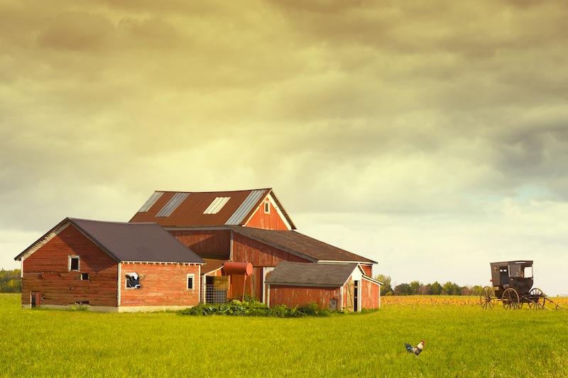 Pennsylvania Farmland With Rainy Sky