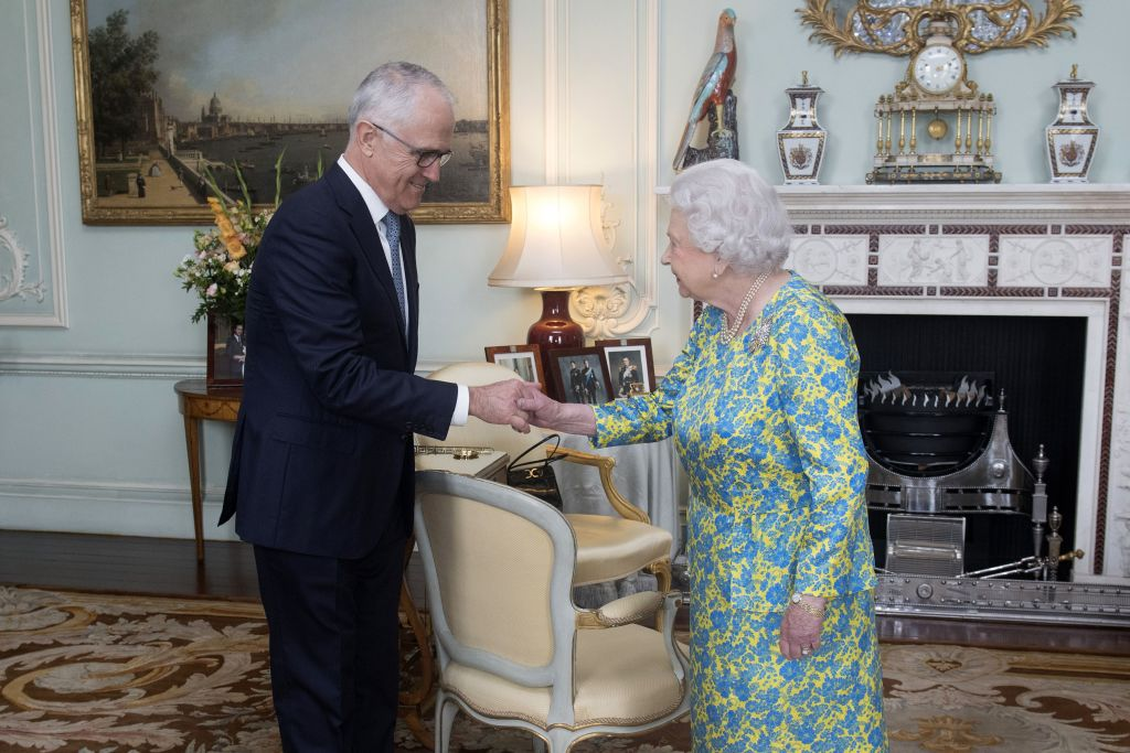 Britain's Queen Elizabeth II shakes hands with Australian Prime Minister, Malcolm Turnbull