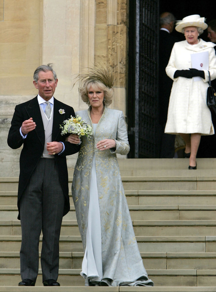 Britain's Prince Charles and his bride Camila Duchess of Cornwall leave St George's Chapel