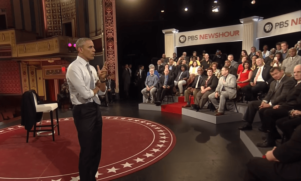 Barack Obama answers a question about gun control at town hall