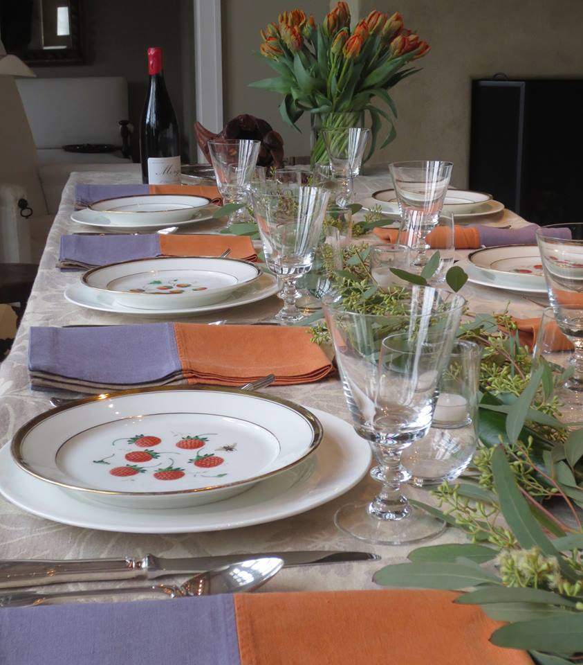 A set dinner table for a party at Ina Garten's