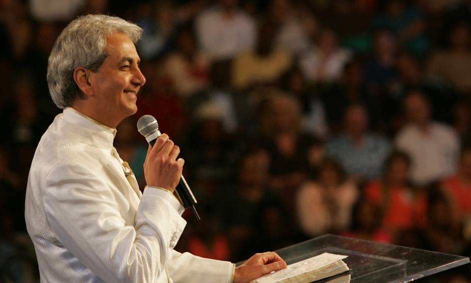 Benny Hinn speaking at church