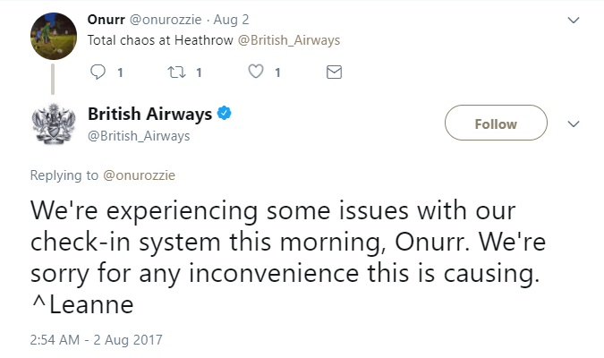 British Airways tweet about delay