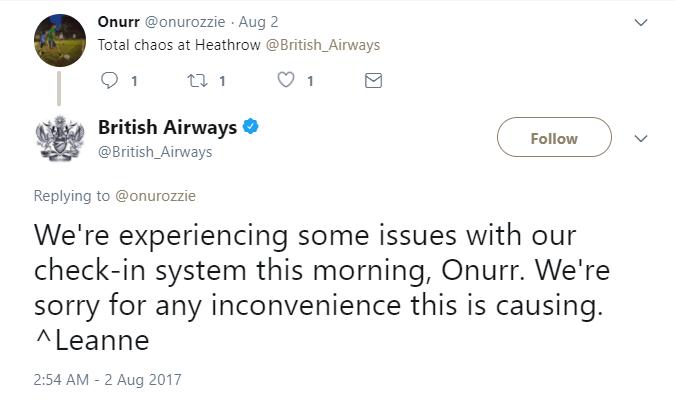 British Airways tweet about delay