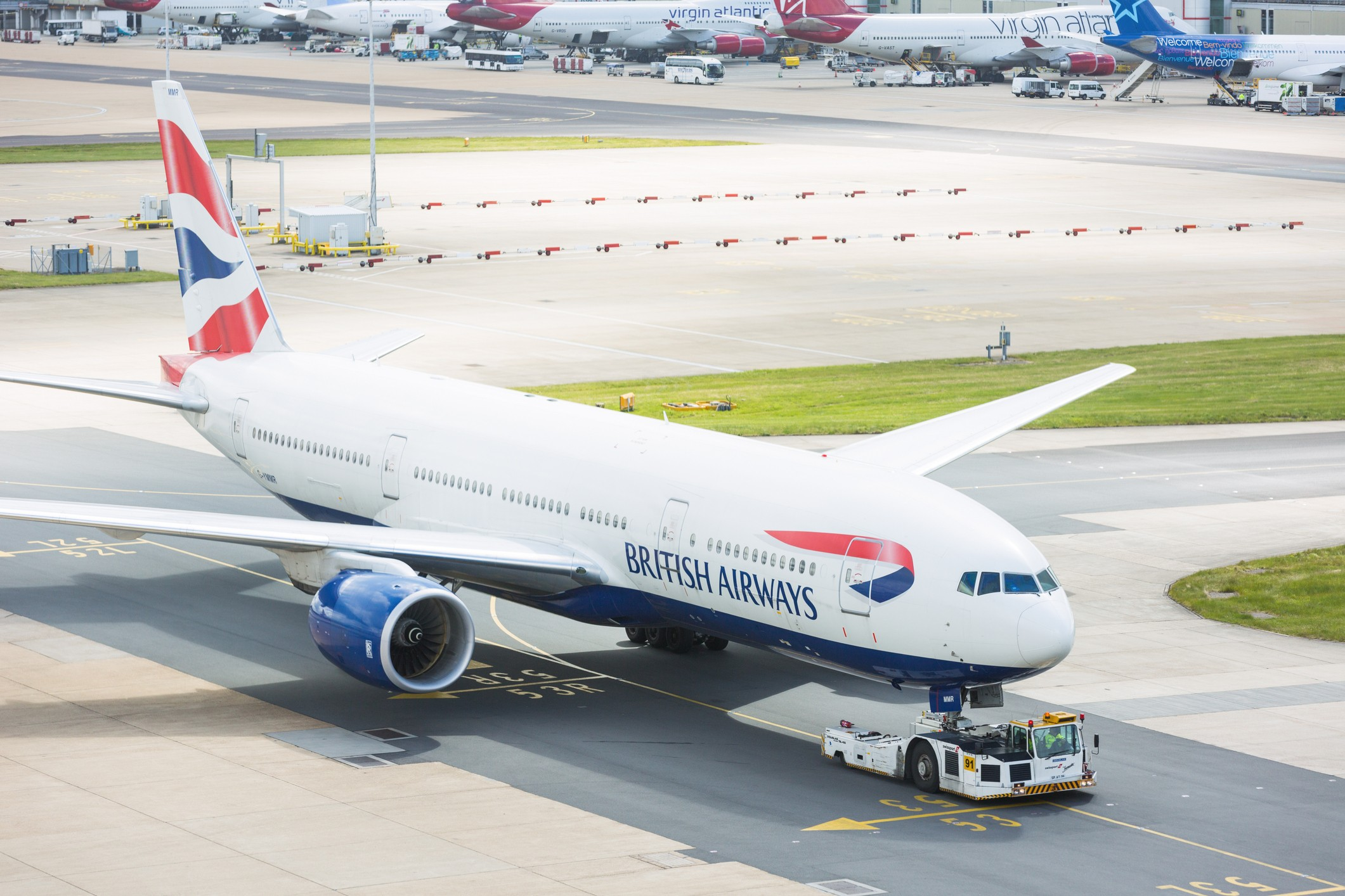 British Airways Boeing 777 at London Gatwick airport