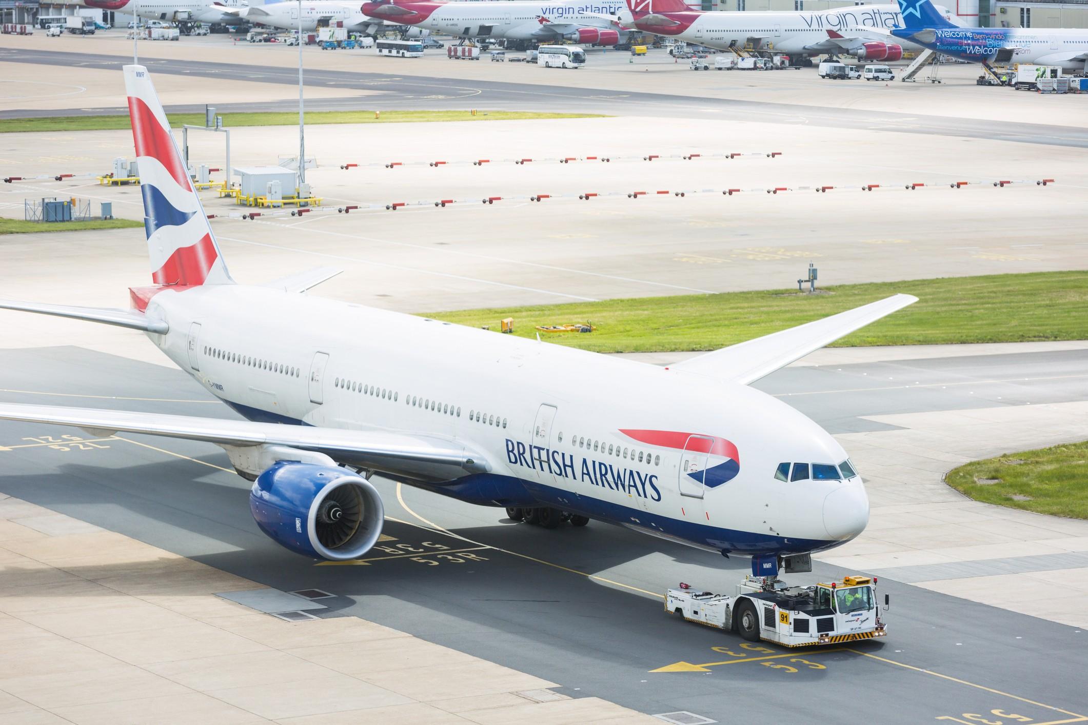 British Airways Boeing 777 at London Gatwick airport