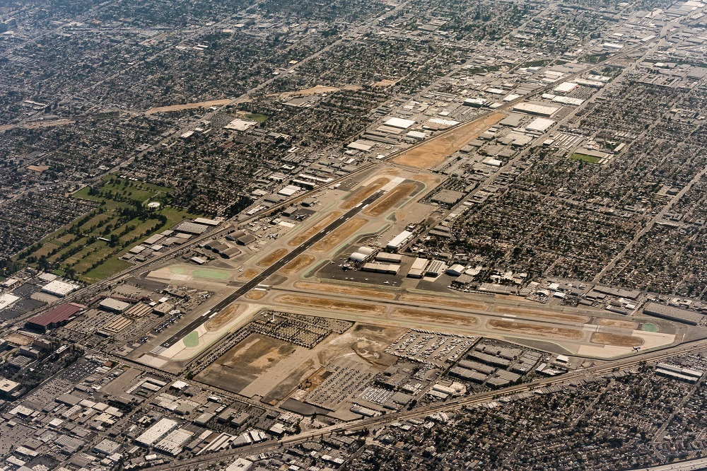 View from airplane of Burbank Airport