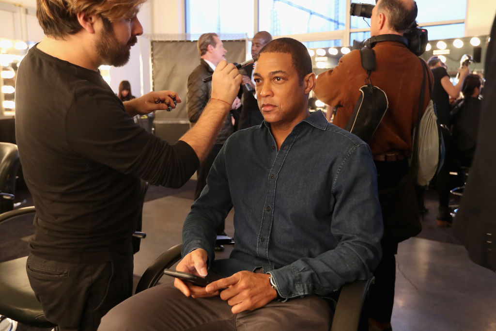 CNN Anchor Don Lemon prepares backstage at the Inaugural Blue Jacket Fashion Show to benefit Prostate Cancer Foundation on February 1, 2017 in New York City. (Photo by Rob Kim/Getty Images for Prostate Cancer Foundation)