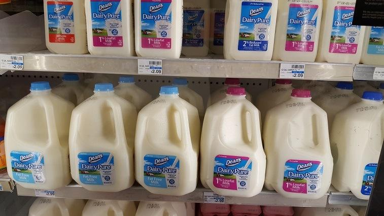 Milk in a CVS refrigerator