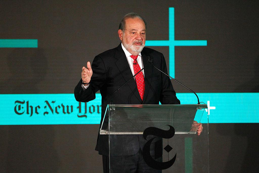 Carlos Slim Helu speaking at New York Times event