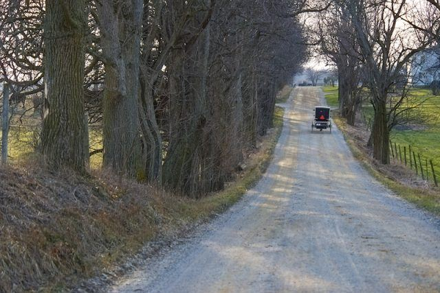 A black carriage seen riding down a road.