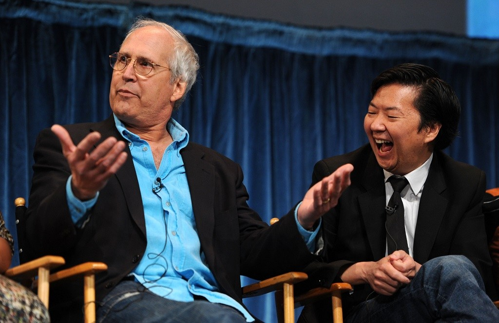 Actor Chevy Chase and Ken Jeong on stage at a Paley Center For Media's Paleyfest event.