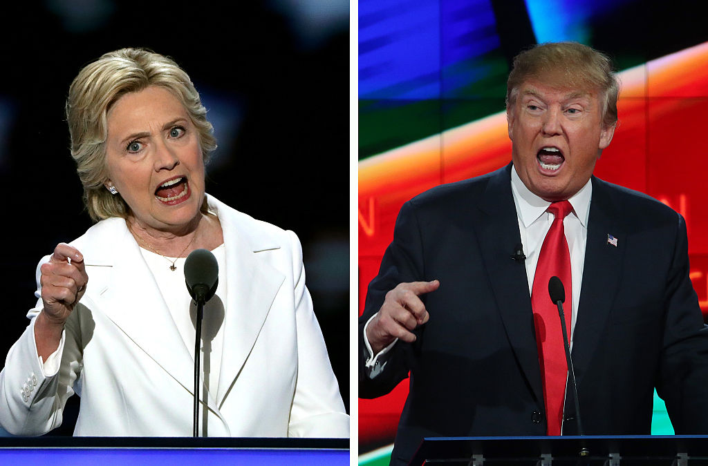 side by side of donald trump and hillary clinton yelling