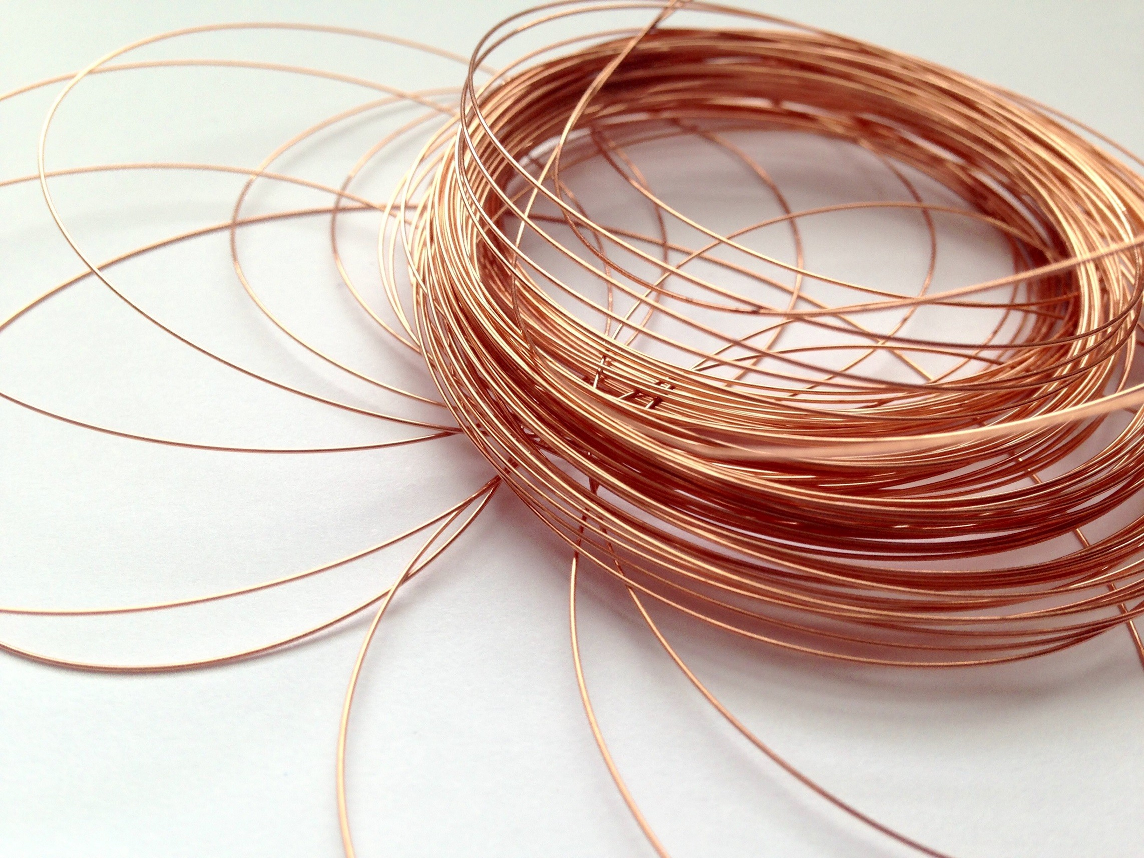 Copper wire coil on white background
