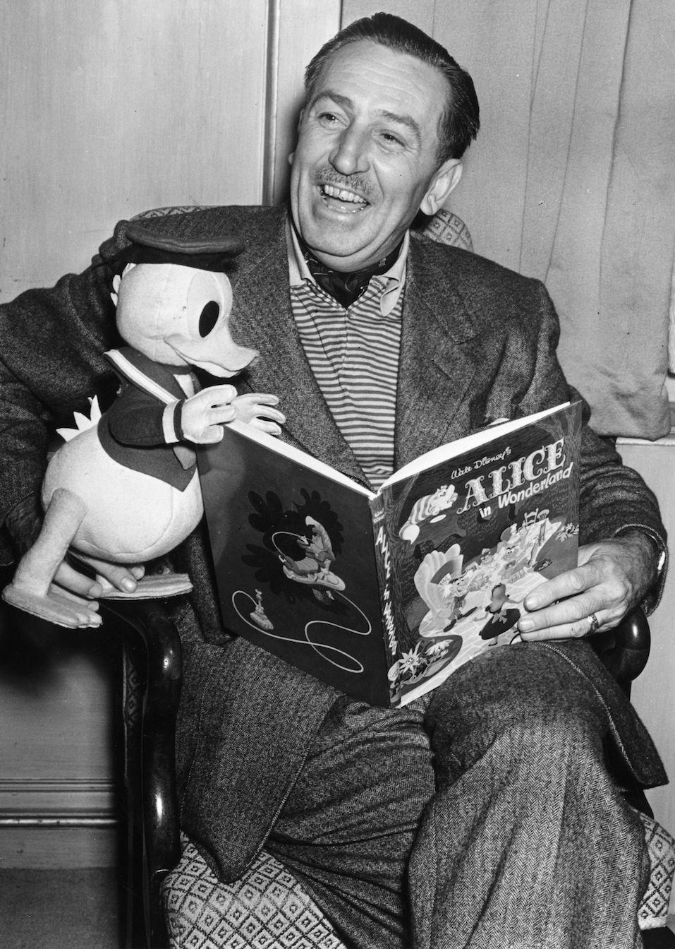 Creator of Mickey Mouse Walt Disney (1901-1966) arrives in London