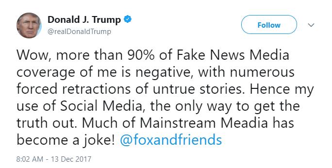 Donald Trump tweets about fake news media