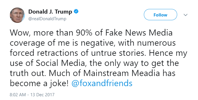 Donald Trump tweets about fake news media