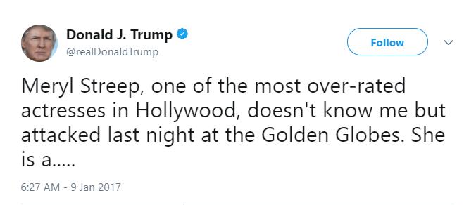 Donald Trump calls Meryl Streep overrated in a Tweet
