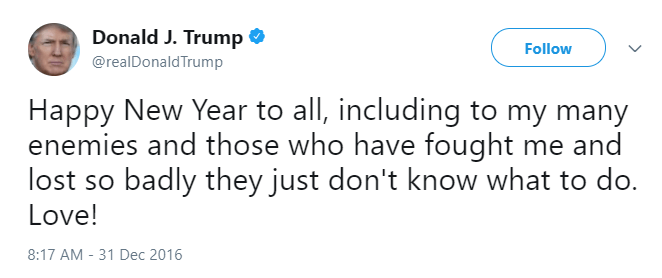Donald Trump tweets condescending message to his enemies on New Years