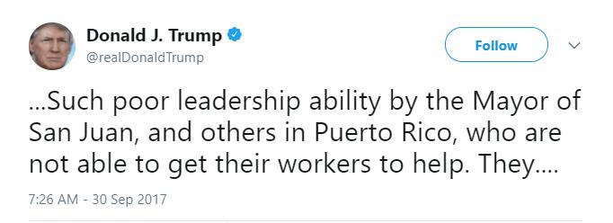 Donald Trump Tweet criticizing Puerto Rico
