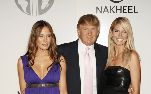 Trump with Melania Trump and Heidi Klum