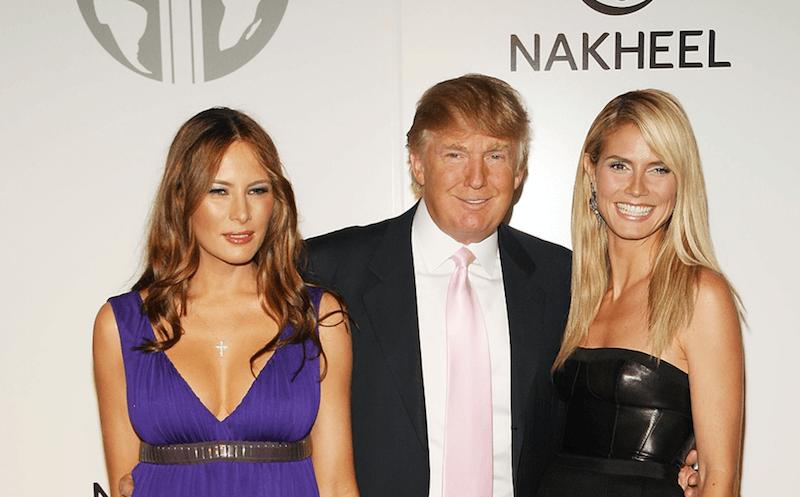 Donald and Melania Trump with supermodel Heidi Klum