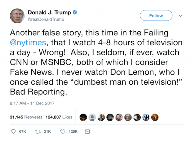Donald Trump tweet on NY Times report.