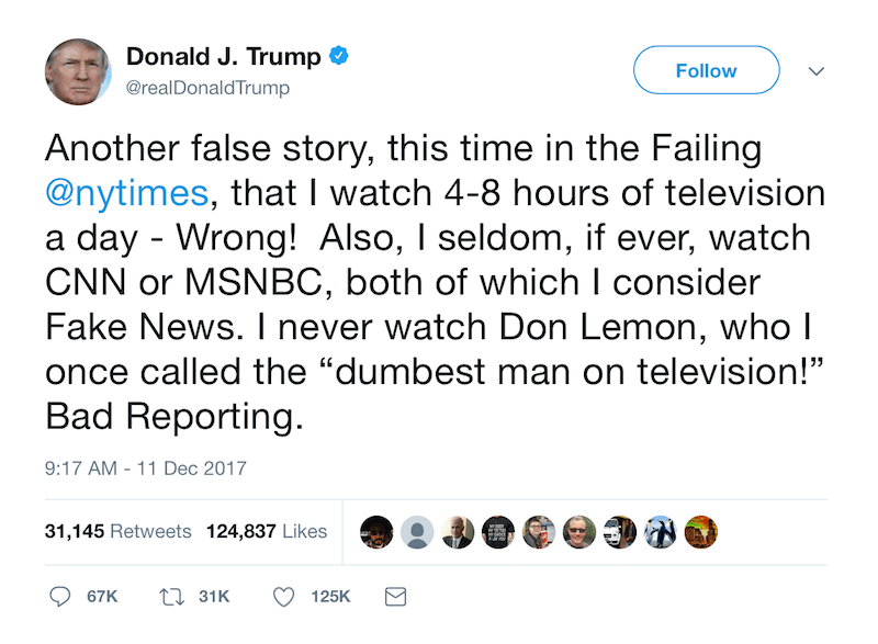 a tweet by donald trump