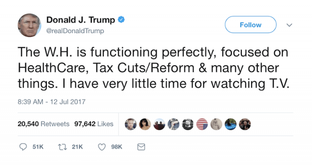 Donald Trump tweet on White House.