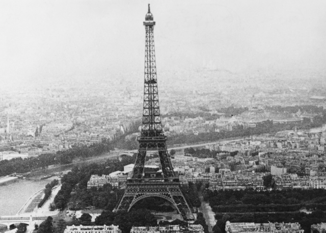 The Eiffel Tower seen from a distance.