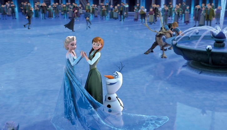 Elsa, Anna, and Olaf in Frozen