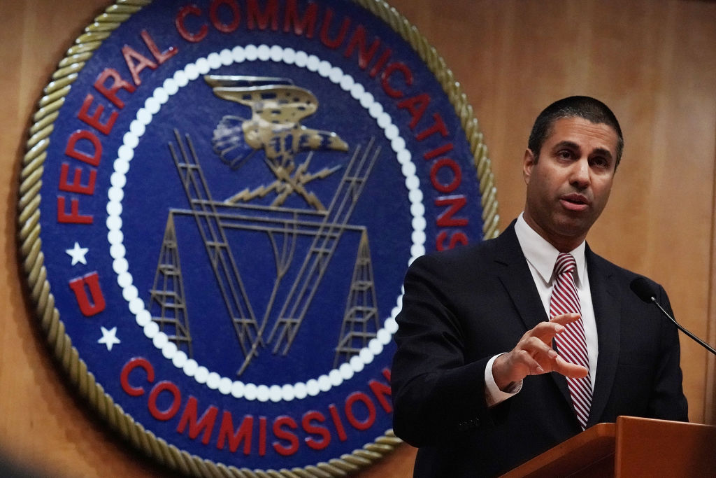 Federal Communications Commission Chairman Ajit Pai speaks to members of the media after a commission meeting