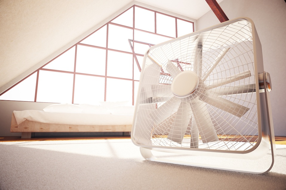 Fan in bedroom interior