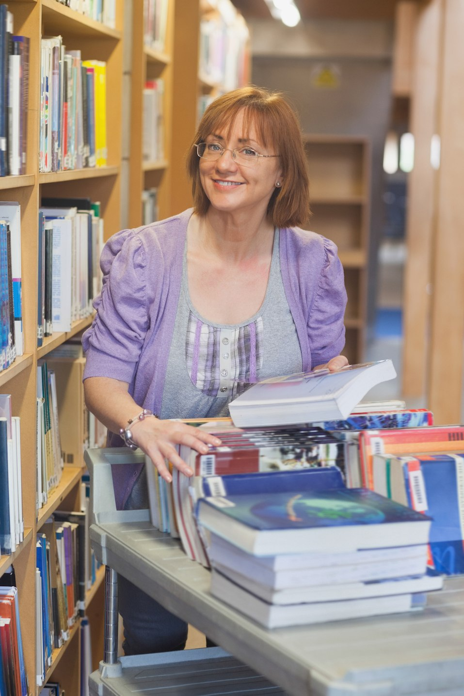 Female mature librarian