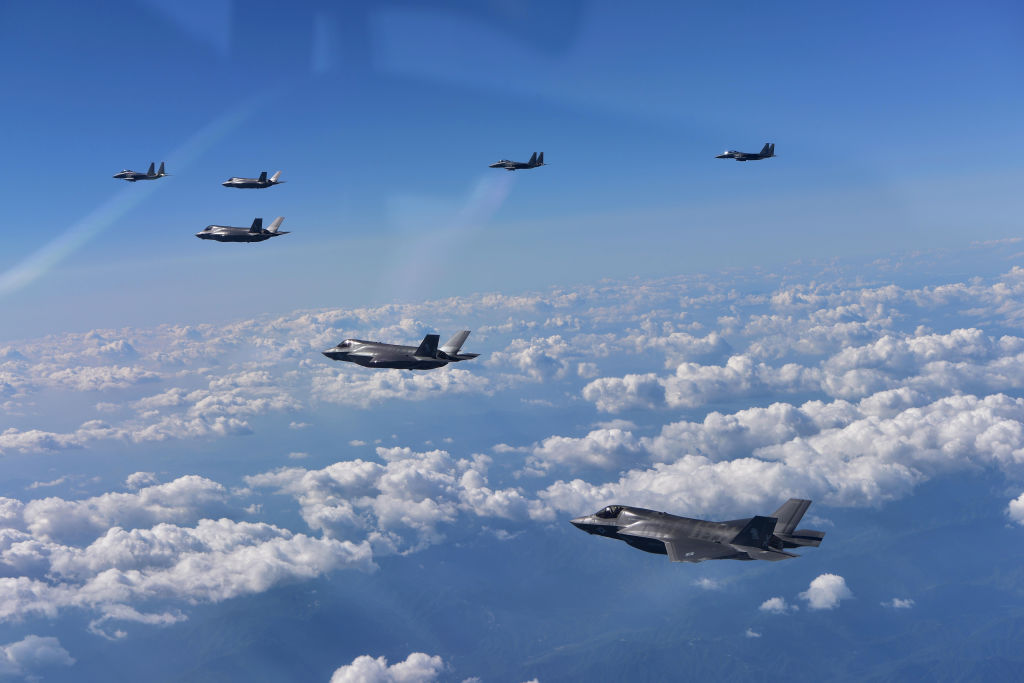 F35 Fighter Jets flying in triangle formation