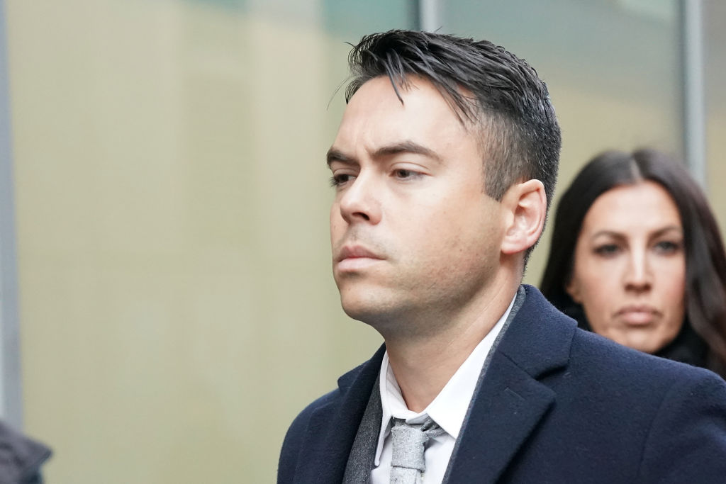Television actor Bruno Langley arrives at Manchester Magistrates Court where he is facing sexual assault charges