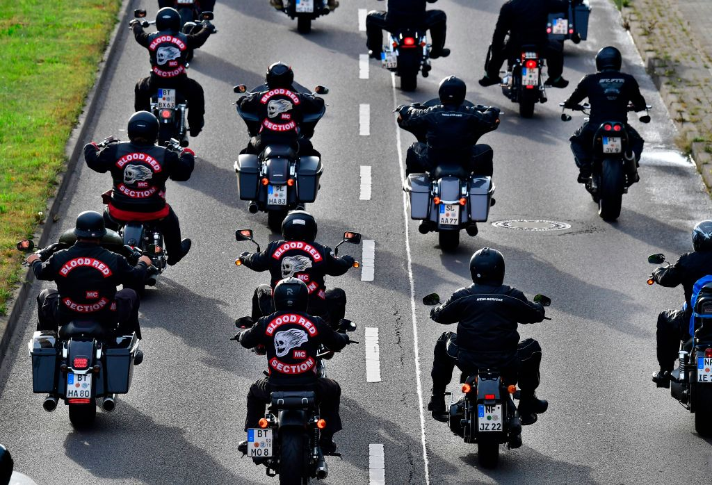 "Members of the ""Hells Angels"" motorcycle club ride their motorbikes"