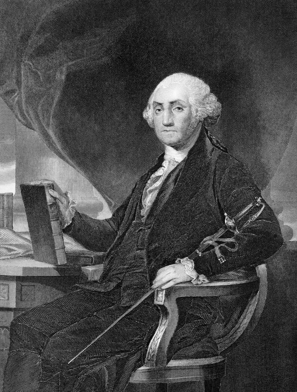 George Washington (1731-1799) on engraving from 1859