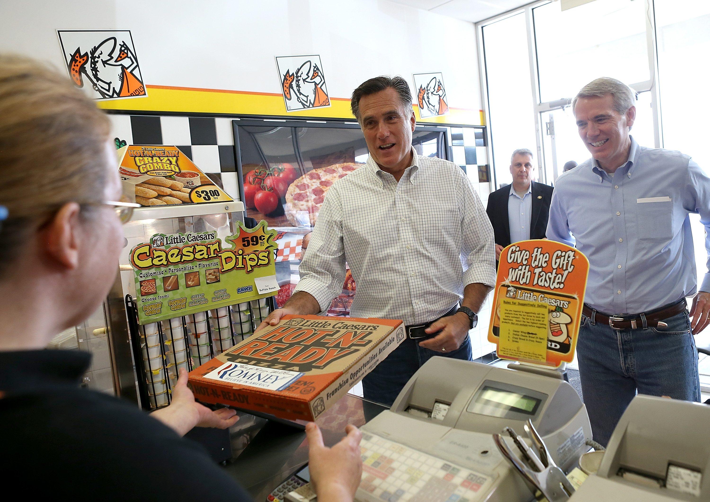 Mitt Romney at Little Ceasars
